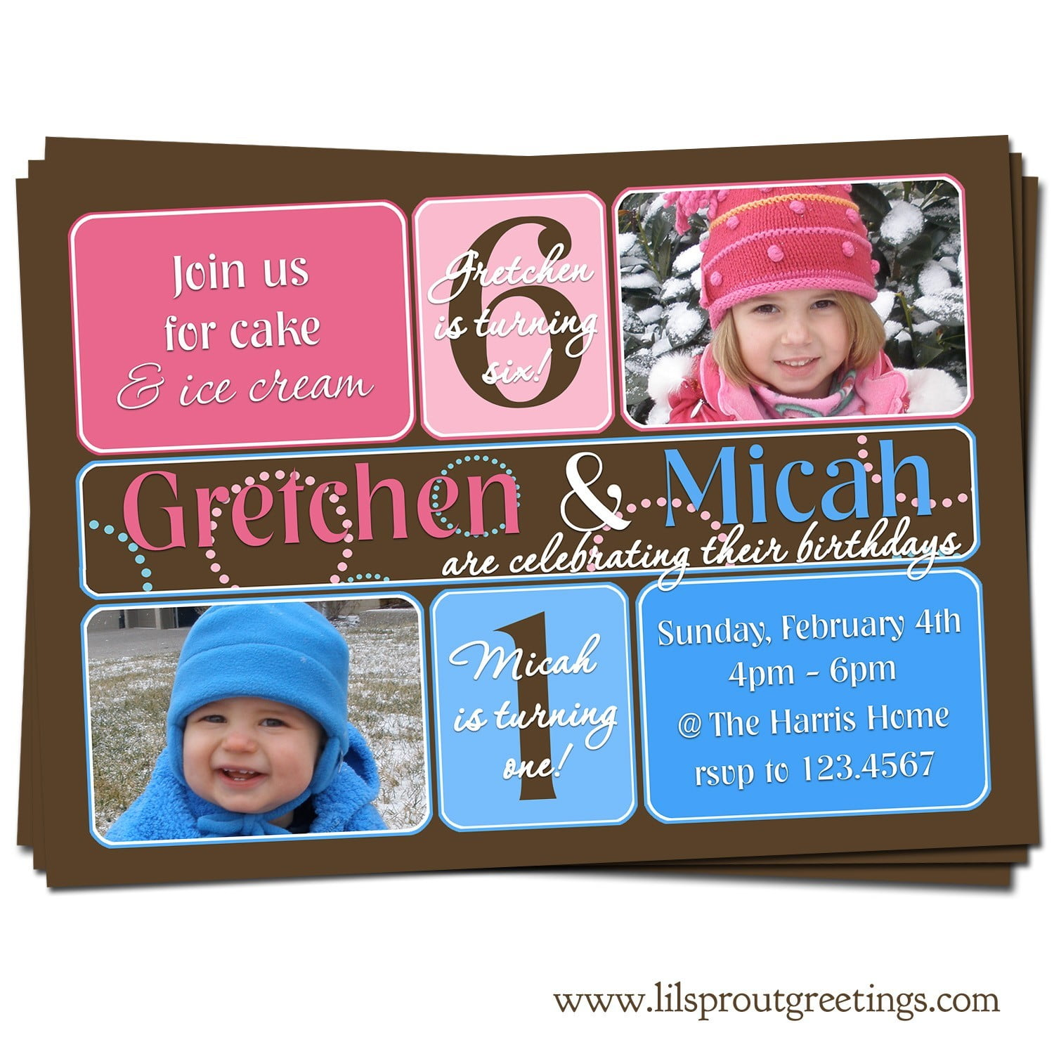Double Kids Birthday Party Invitations Greetings
