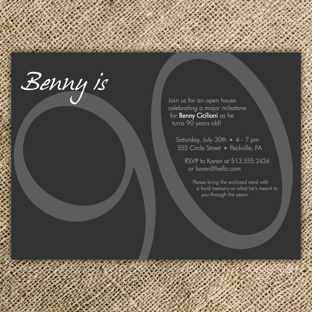 90th Birthday Party Invitation Black