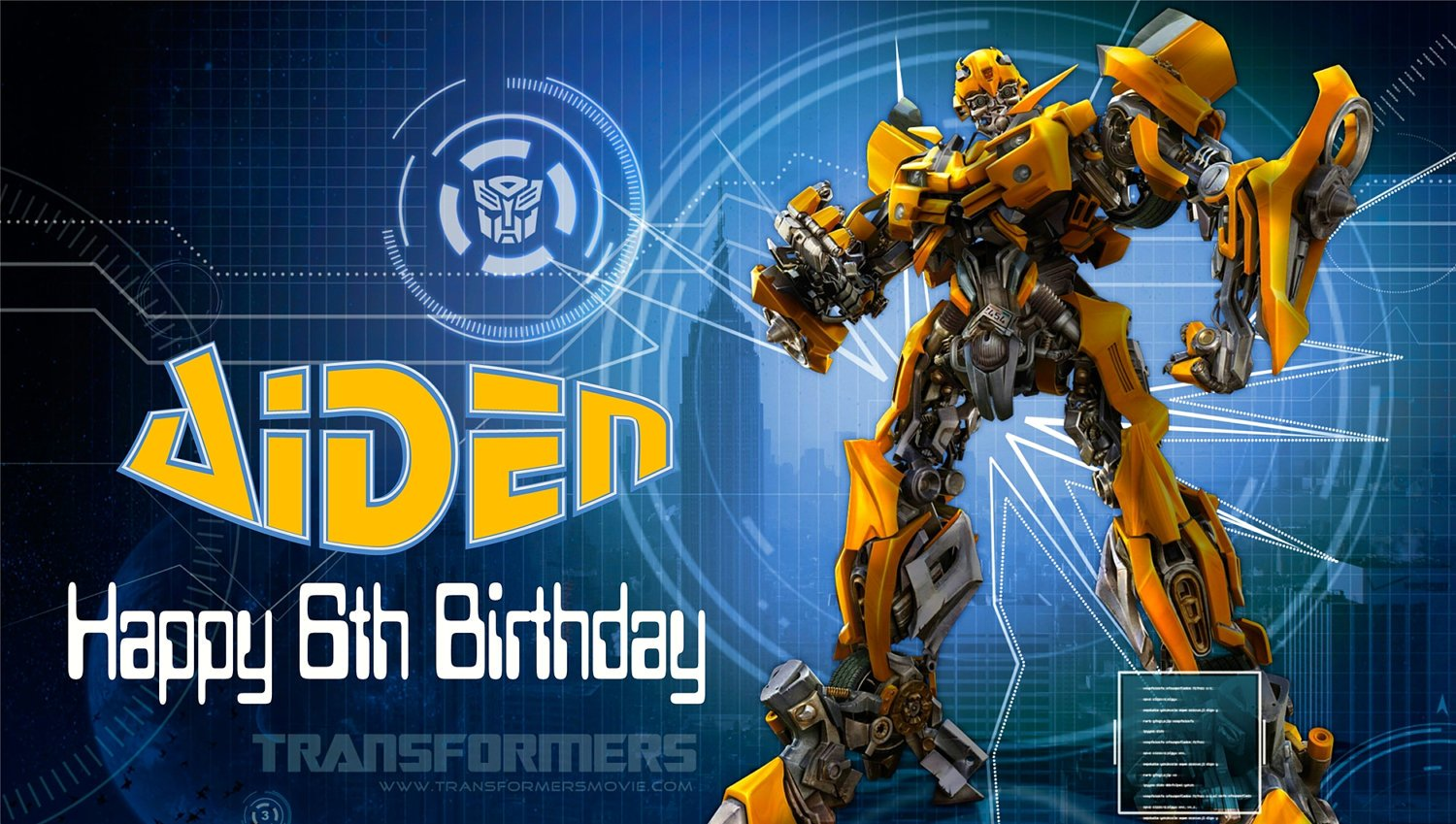 Bumblebee Transformer Birthday Invitations