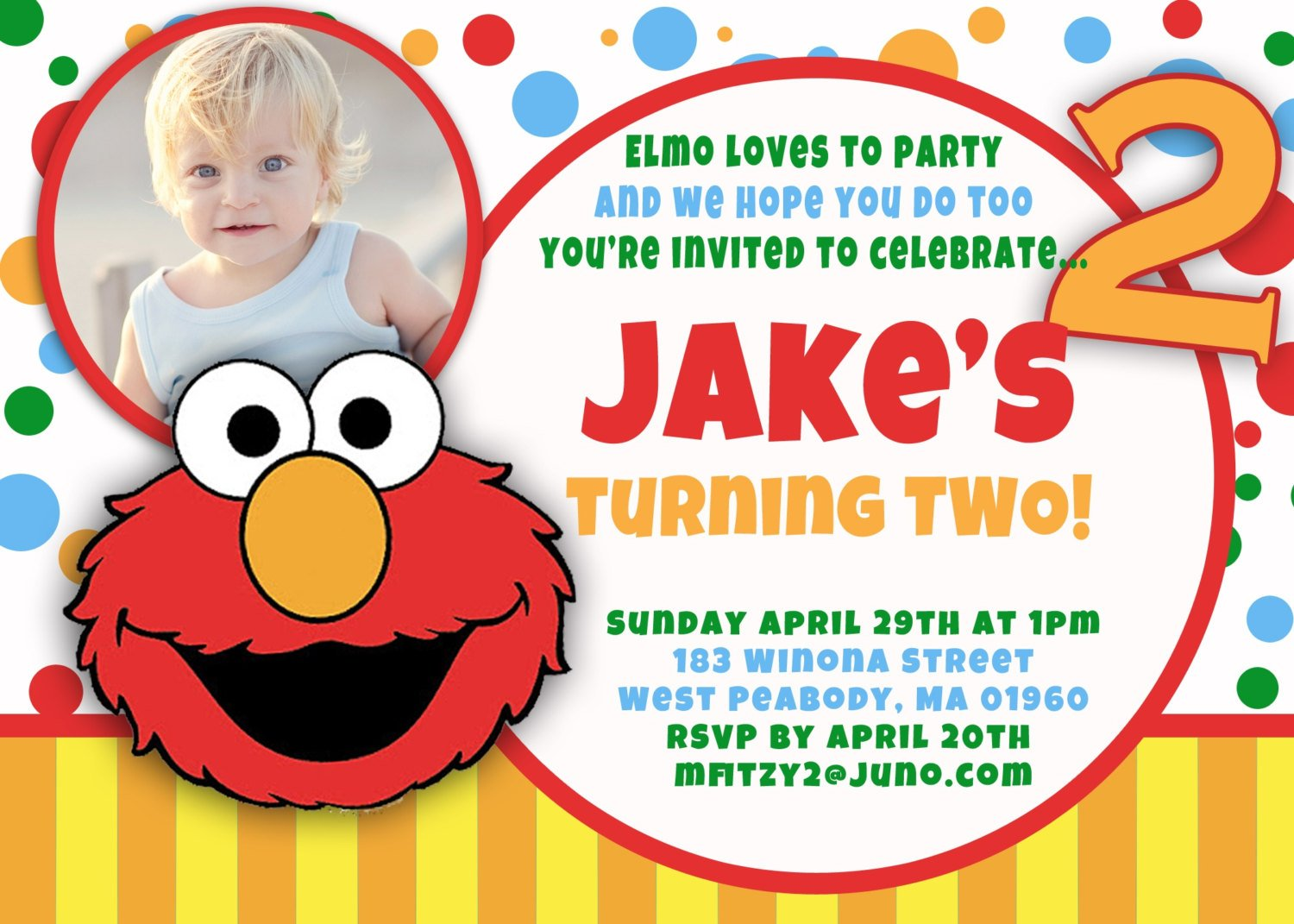 Elmo 1st birthday invitations bagvania free printable for Elmo template for invitations