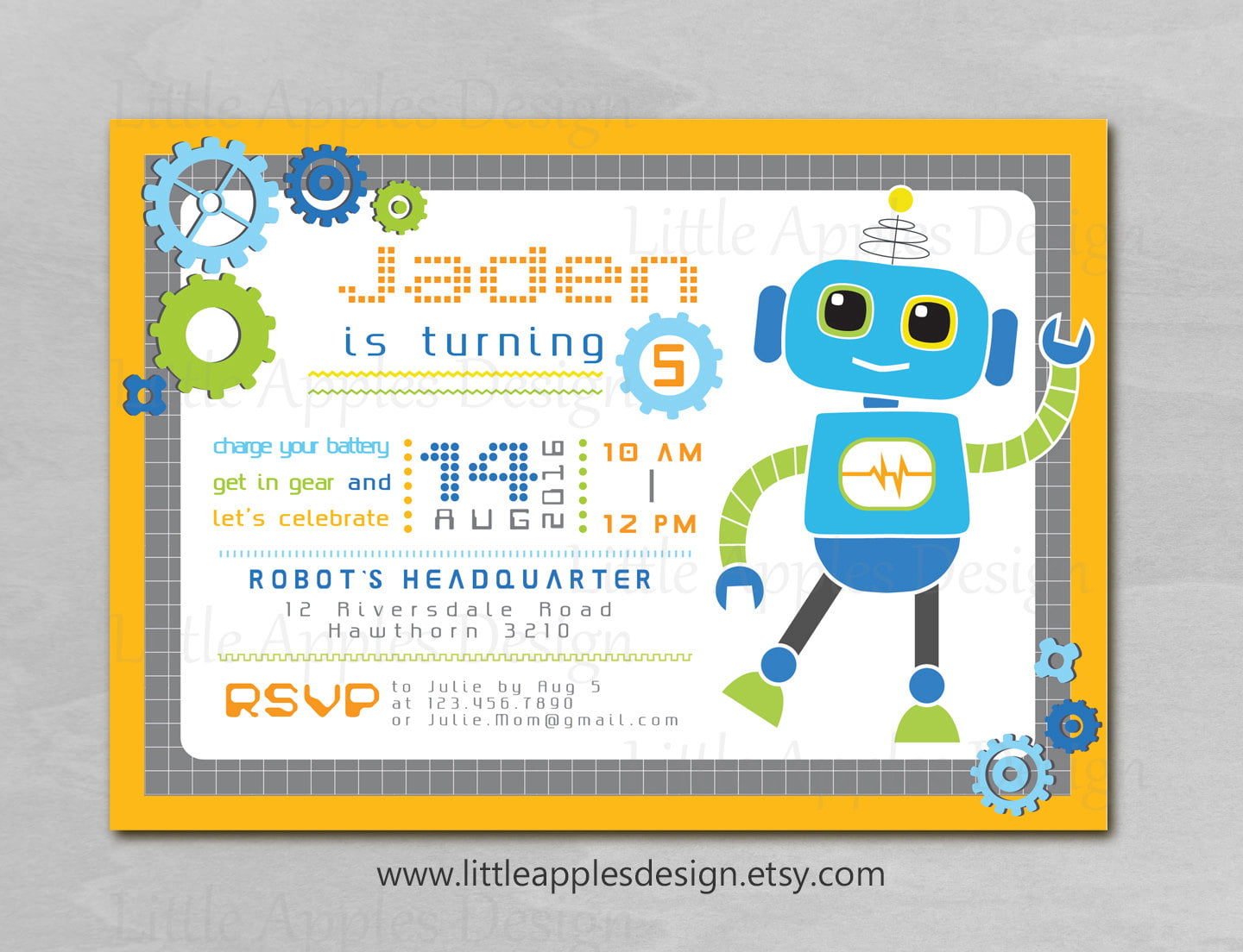 Robot Birthday Invitations – Bagvania FREE Printable Invitation Template