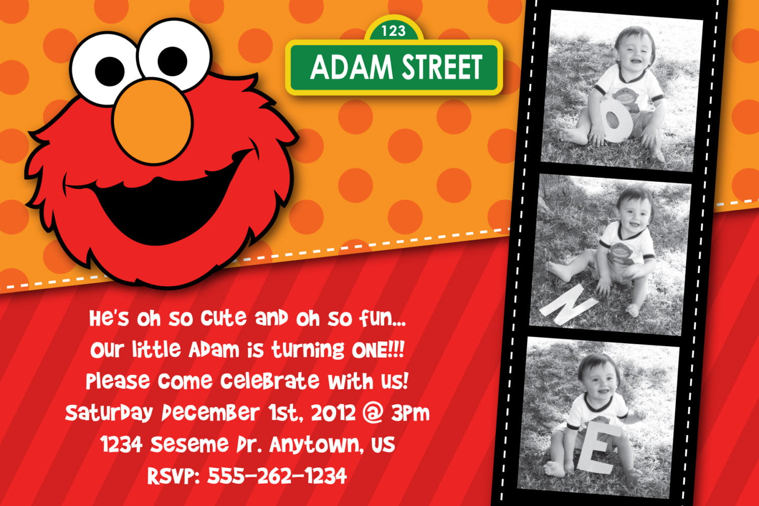 Elmo 1St Birthday Invitation einmaleinshaus – Custom 1st Birthday Invitations