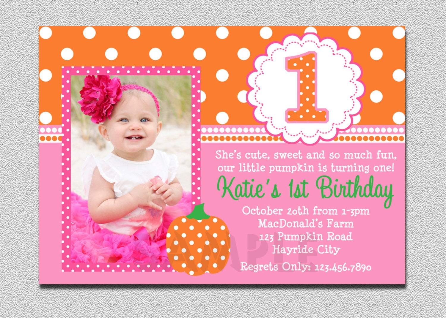 Pumpkin Birthday Invitation 1st
