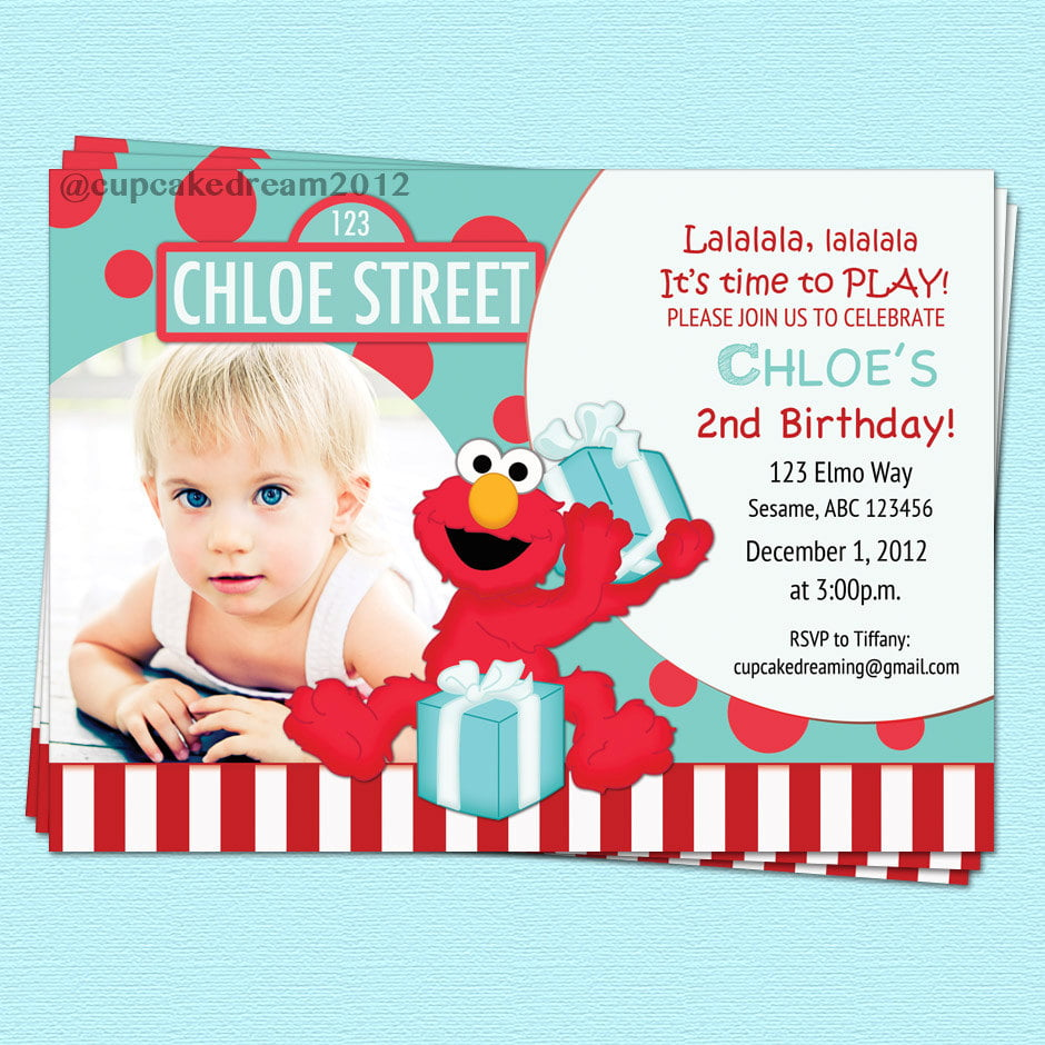 Calm Blue Elmo 1st Birthday Invitations