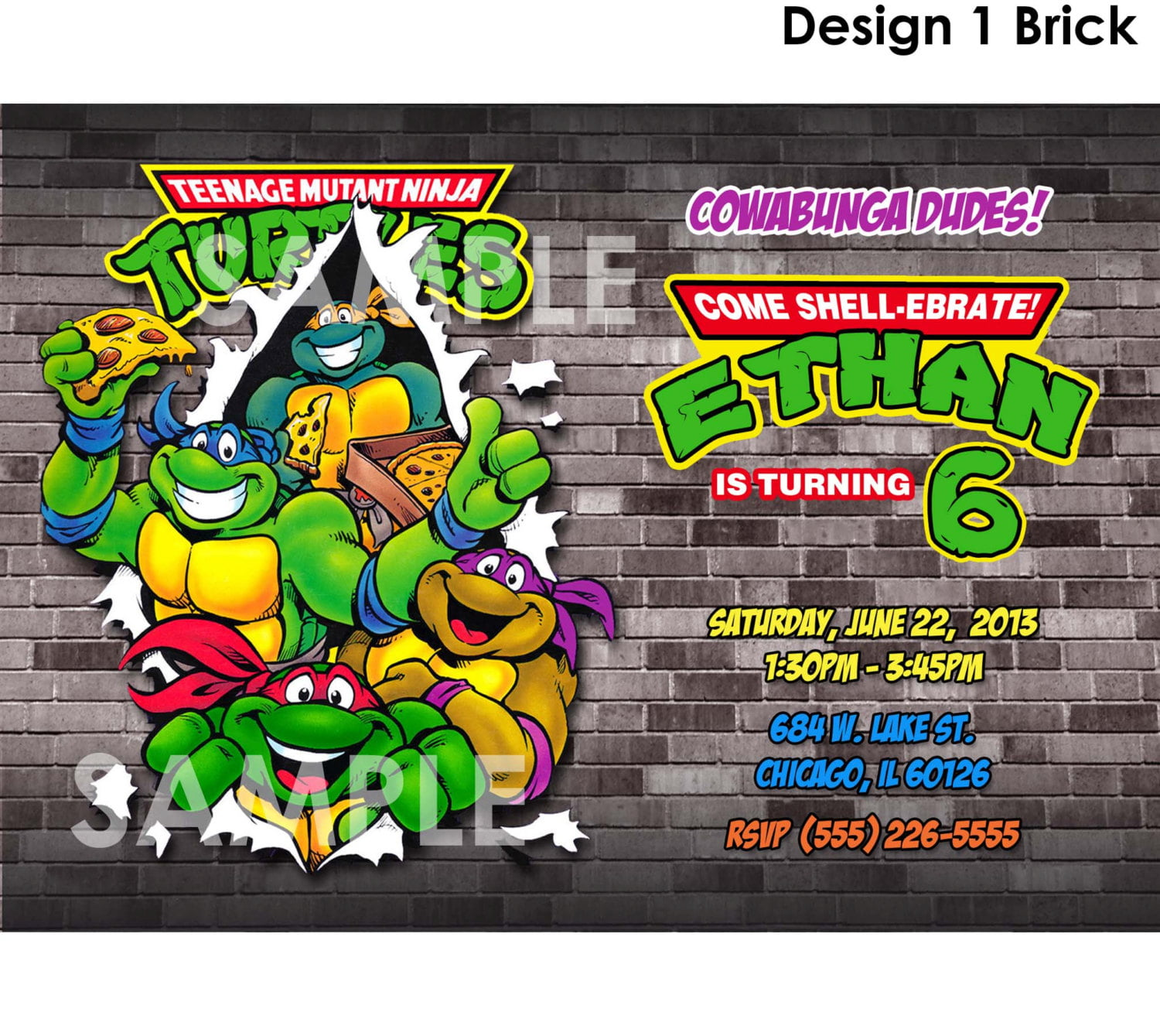 Teenage Mutant Ninja Turtle Birthday Party Invitations Bagvania
