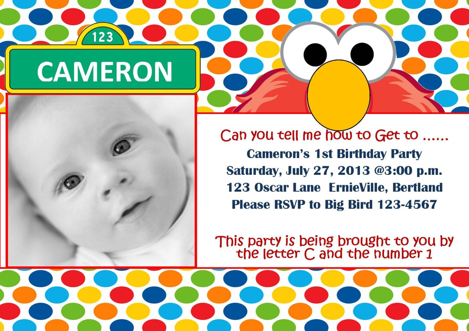Elmo 1st birthday invitations – Bagvania FREE Printable Invitation ...