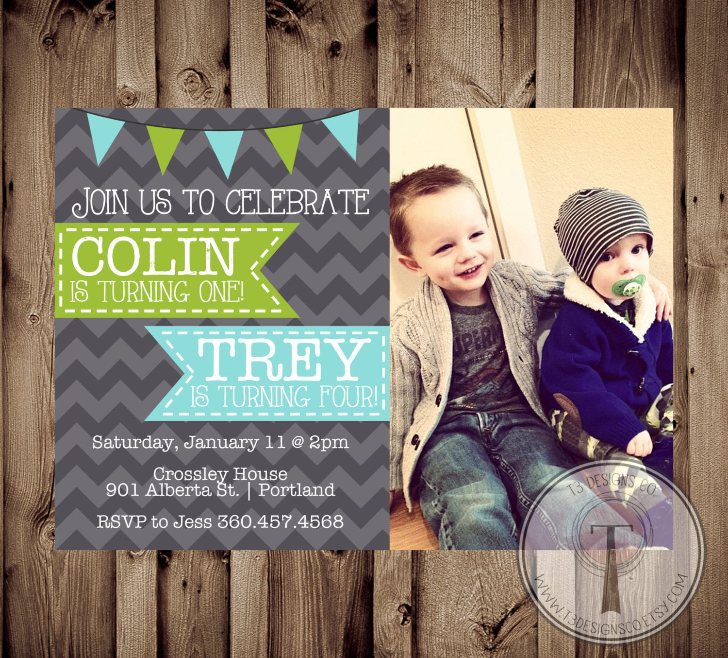 Casual Double Kids Birthday Party Invitations