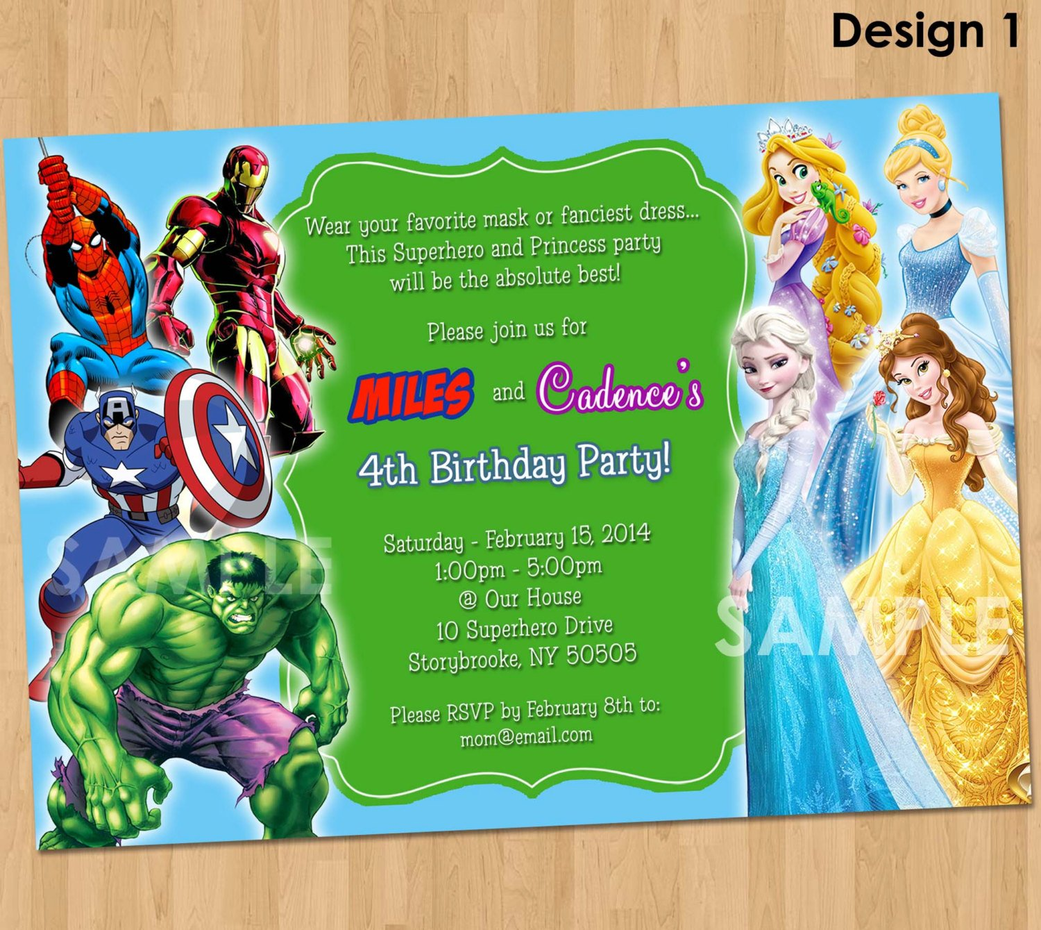 Superheroes Double Kids Birthday Party Invitations