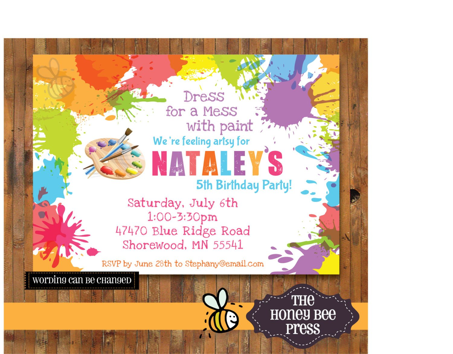Art birthday party invitations for your kids bagvania free art birthday party invitations for your kids stopboris