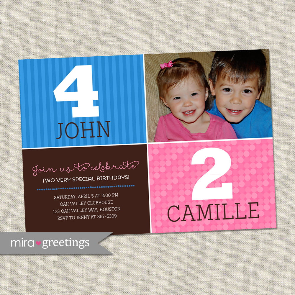 Double Birthday Party Invitation