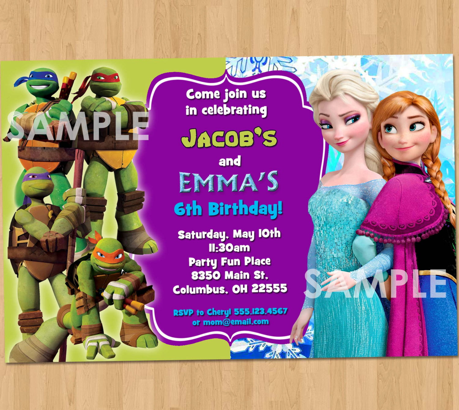 TMNT and Frozen Double Kids Birthday Party Invitations