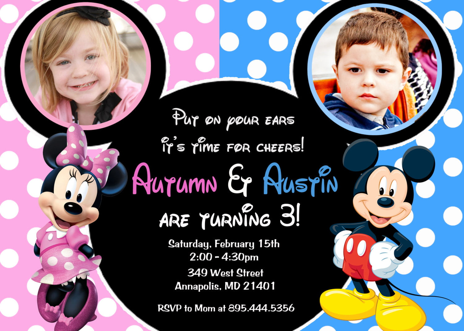 Mickey and Minnie Double Kids Birthday Party Invitations