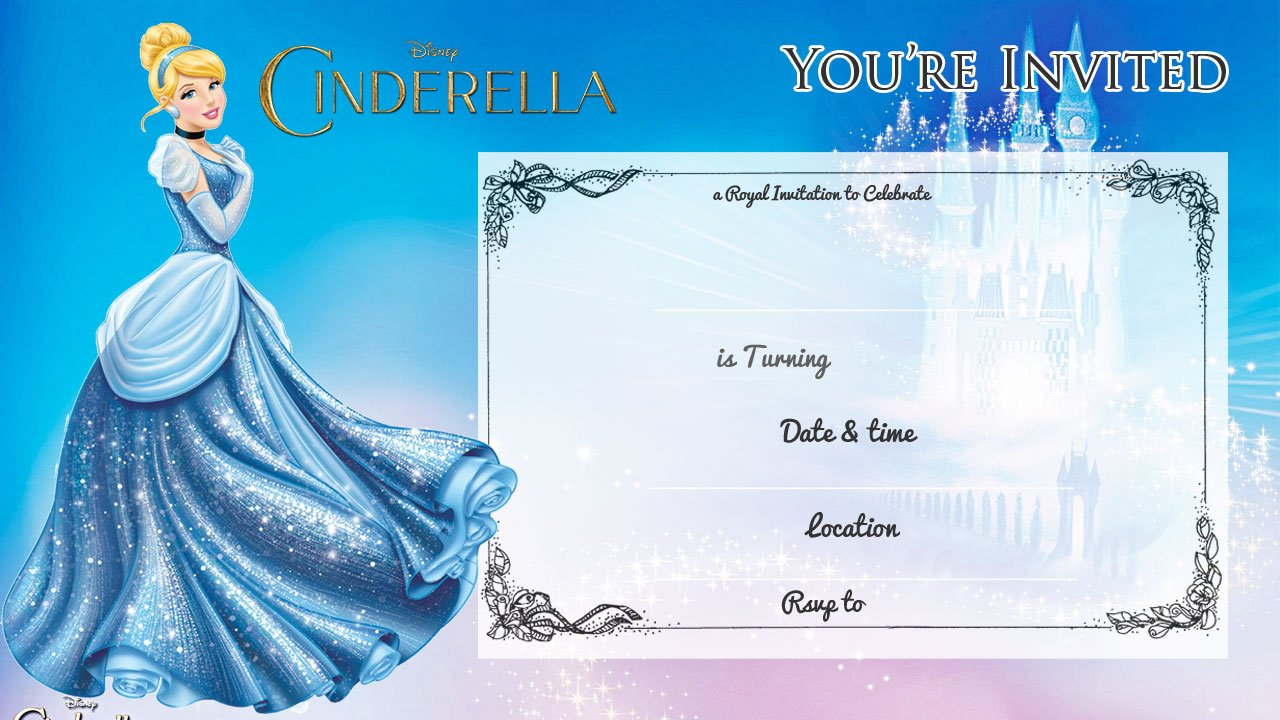 free printable cinderella birthday invitation bagvania free