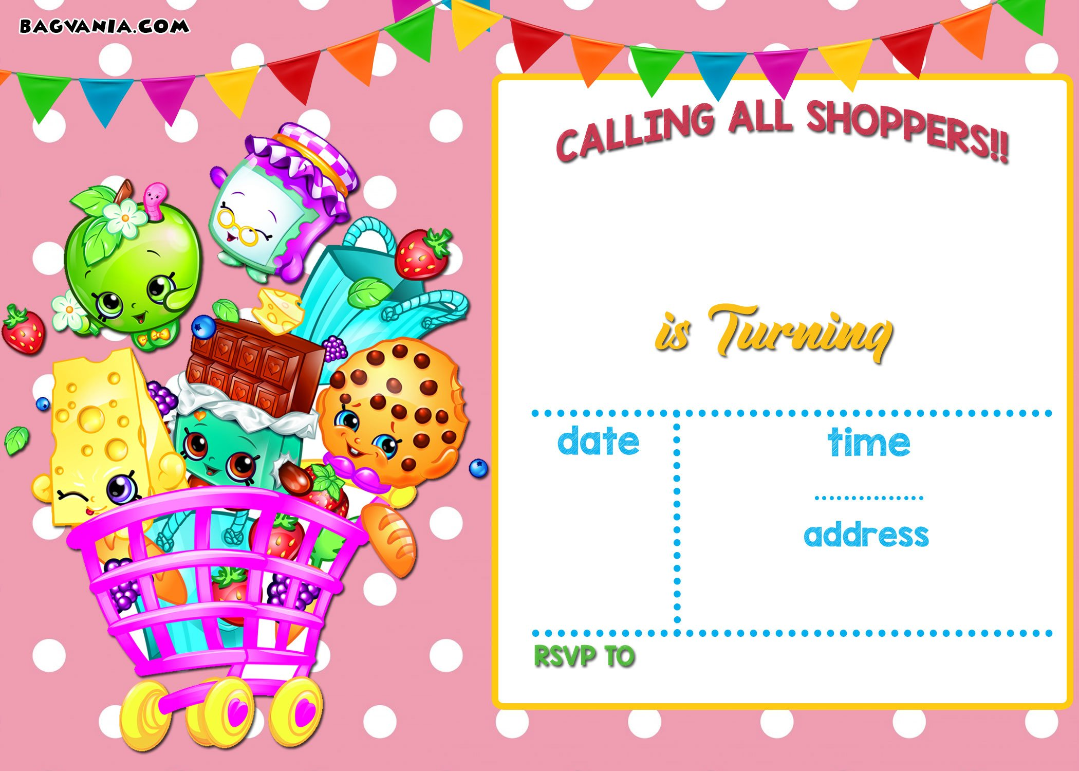 Calling All Shoppers Here Are Free Blank Shopkins Invitation - Blank shopkins birthday invitations