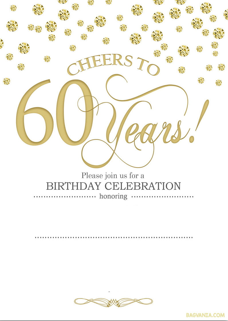 free printable 60th birthday invitation templates u2013 golden