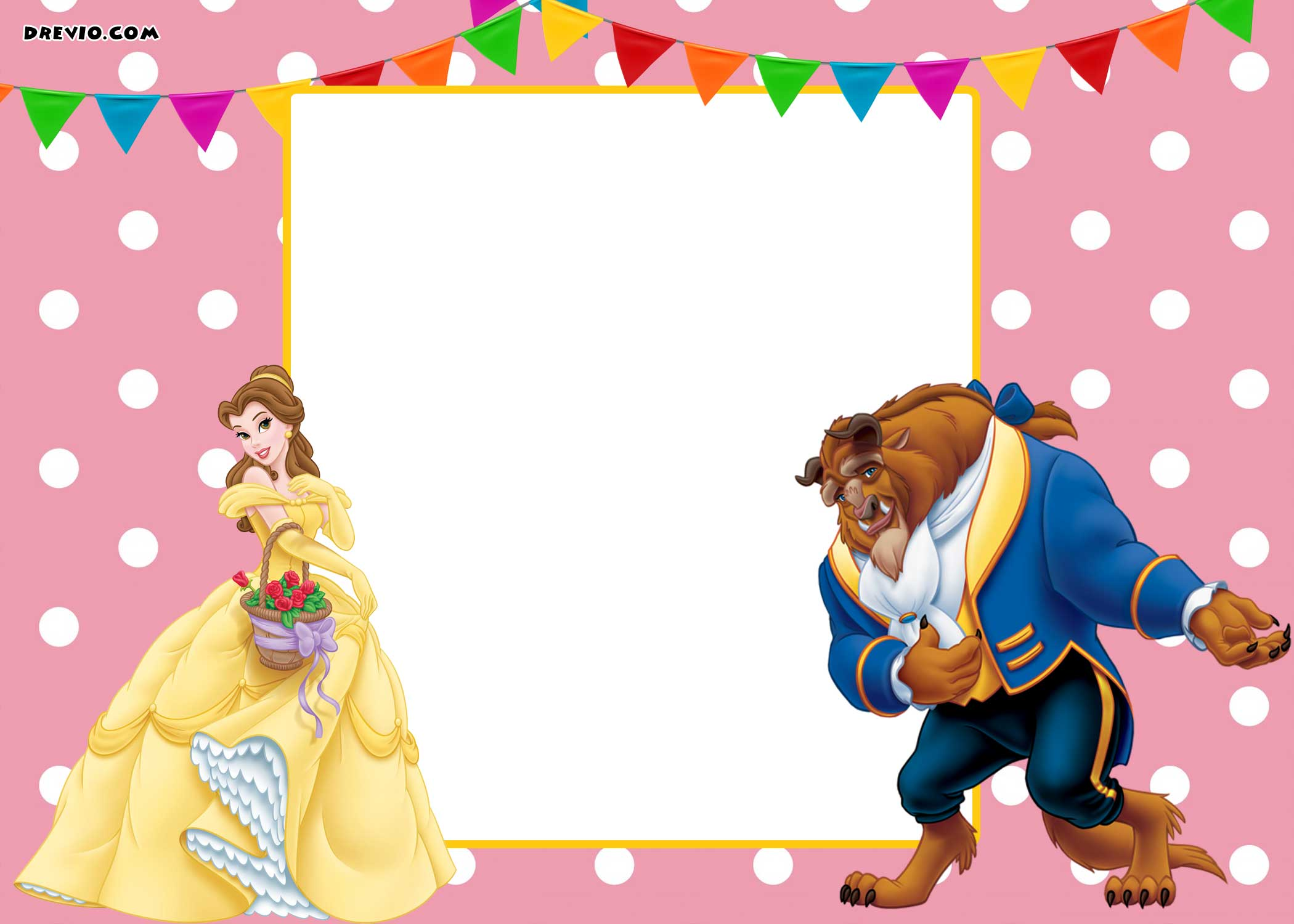 FREE-Printable-Beauty-and-the-Beast-Polka-Dot-love-invitation-Template