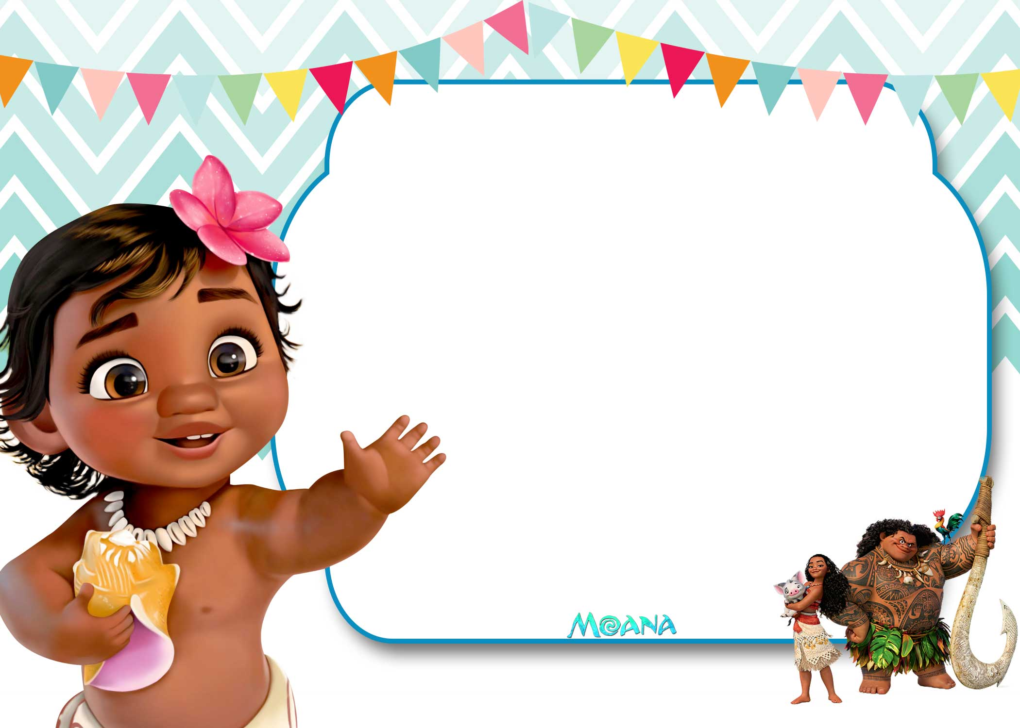 Free Printable Moana 1st Invitation Template Bagvania