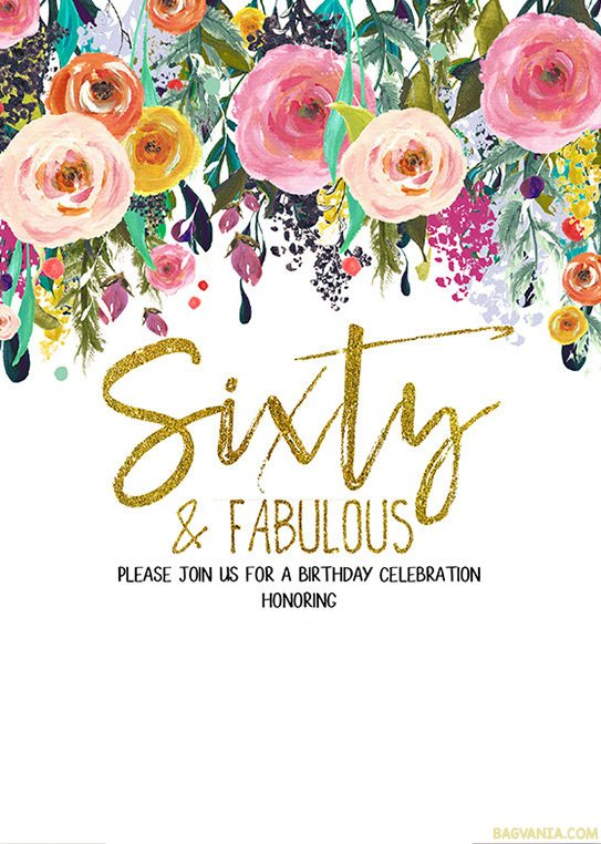 FREE Printable 60th Birthday Invitation Templates – GOLDEN Collections – Bagvania FREE Printable ...