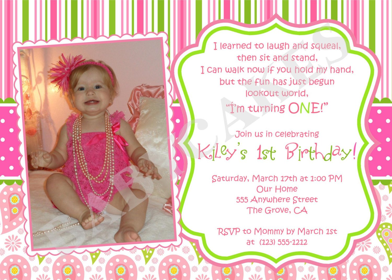 Free Printable 1st Birthday Invitations Girl – Bagvania FREE ...
