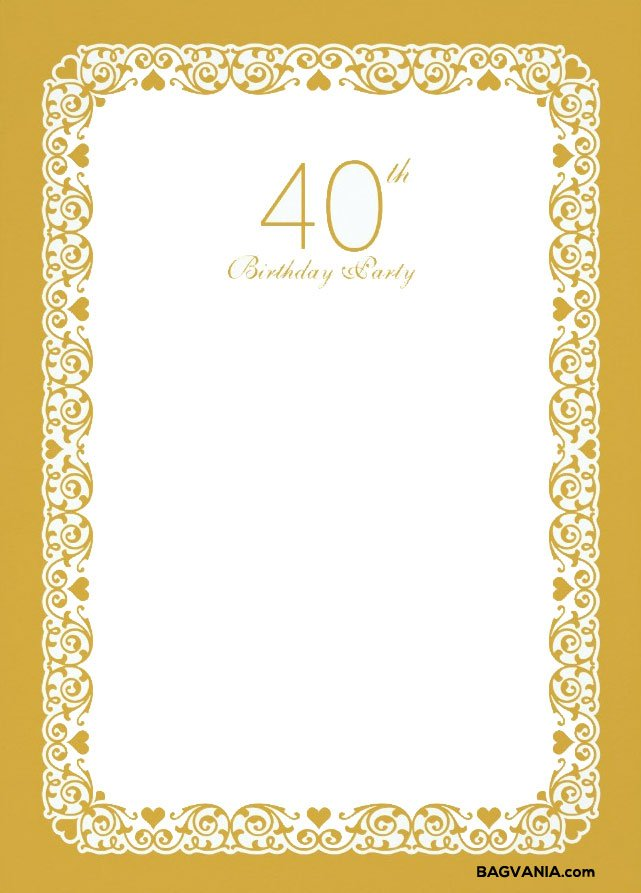 Free Printable 40th Birthday Invitations – Bagvania FREE Printable ...