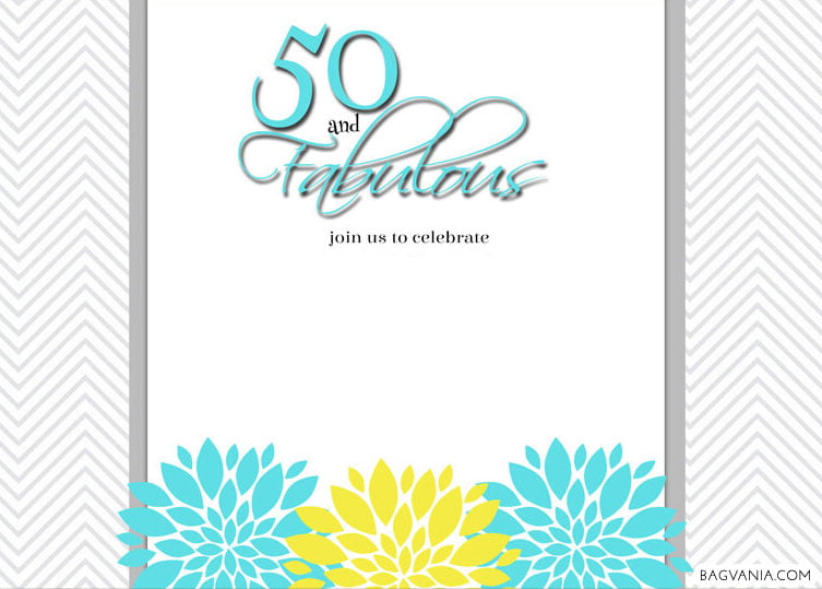 FREE Printable 50th And Fabulous Birthday Invitation