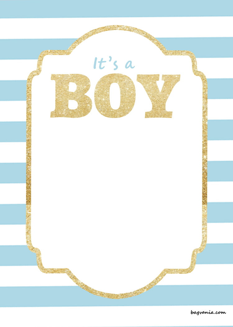 Free printable baby shower invitations glitter gold for Baby shower boy invitation templates free