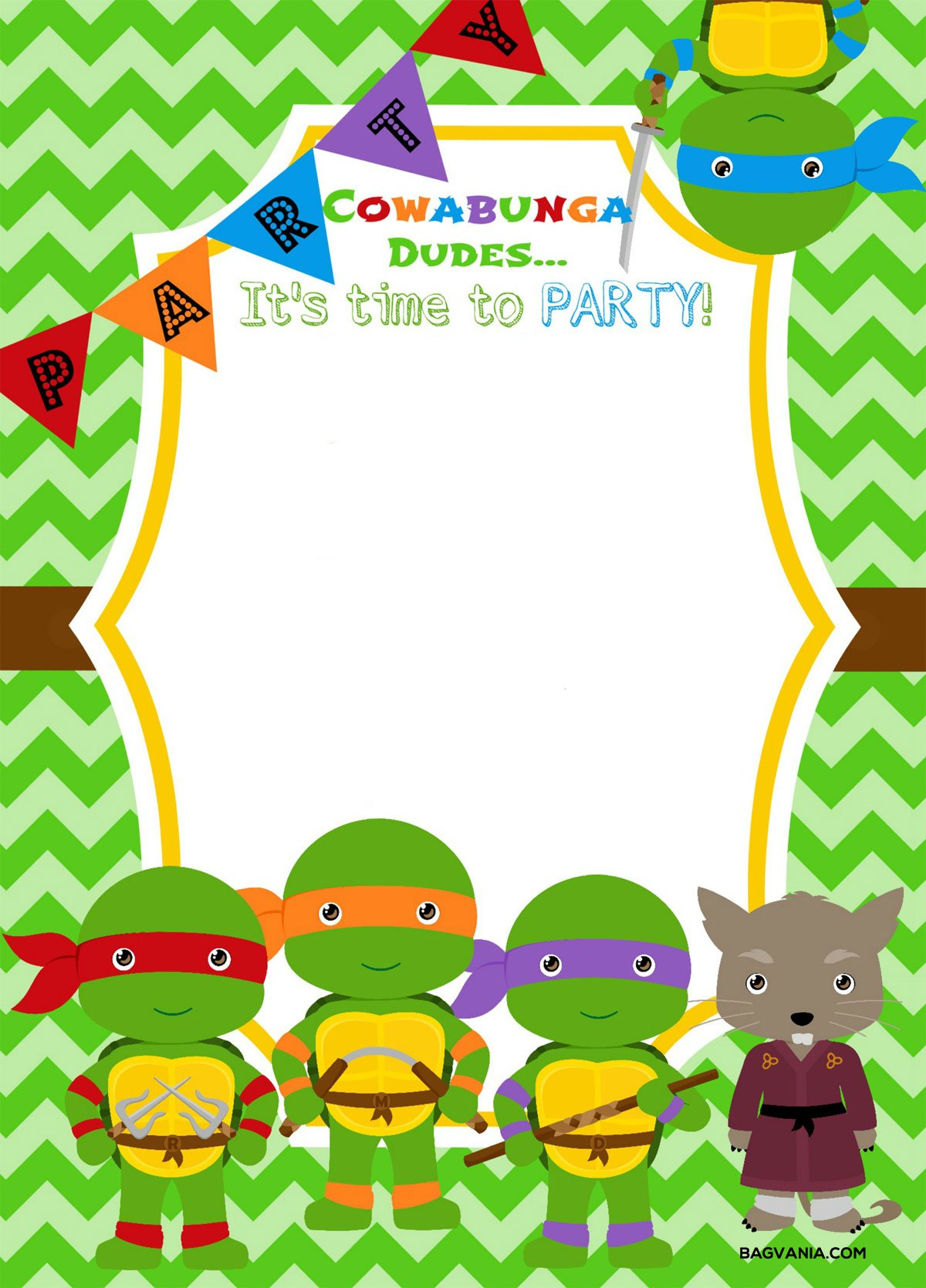 Free Printable Ninja Turtle Birthday Party Invitations – Bagvania ...