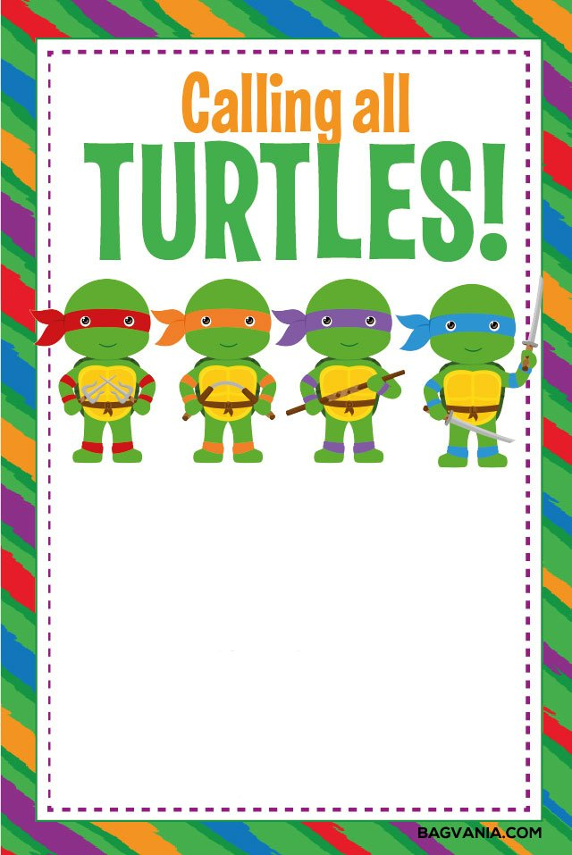 Free printable ninja turtle birthday party invitations bagvania before printing write down the social gathering like the time and location you may add rsvp and dress code to enliven the party stopboris Image collections