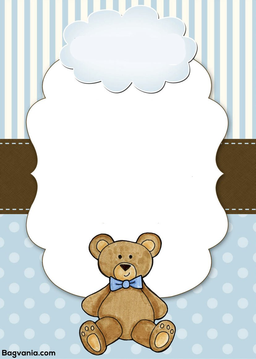 Free Teddy Bear Birthday Invitation Templates – Bagvania FREE ...