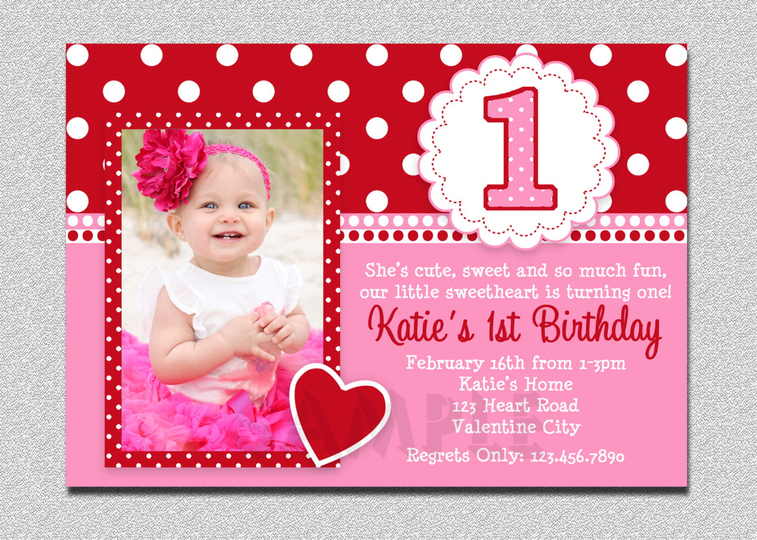Love 1st Birthday Invitation Template