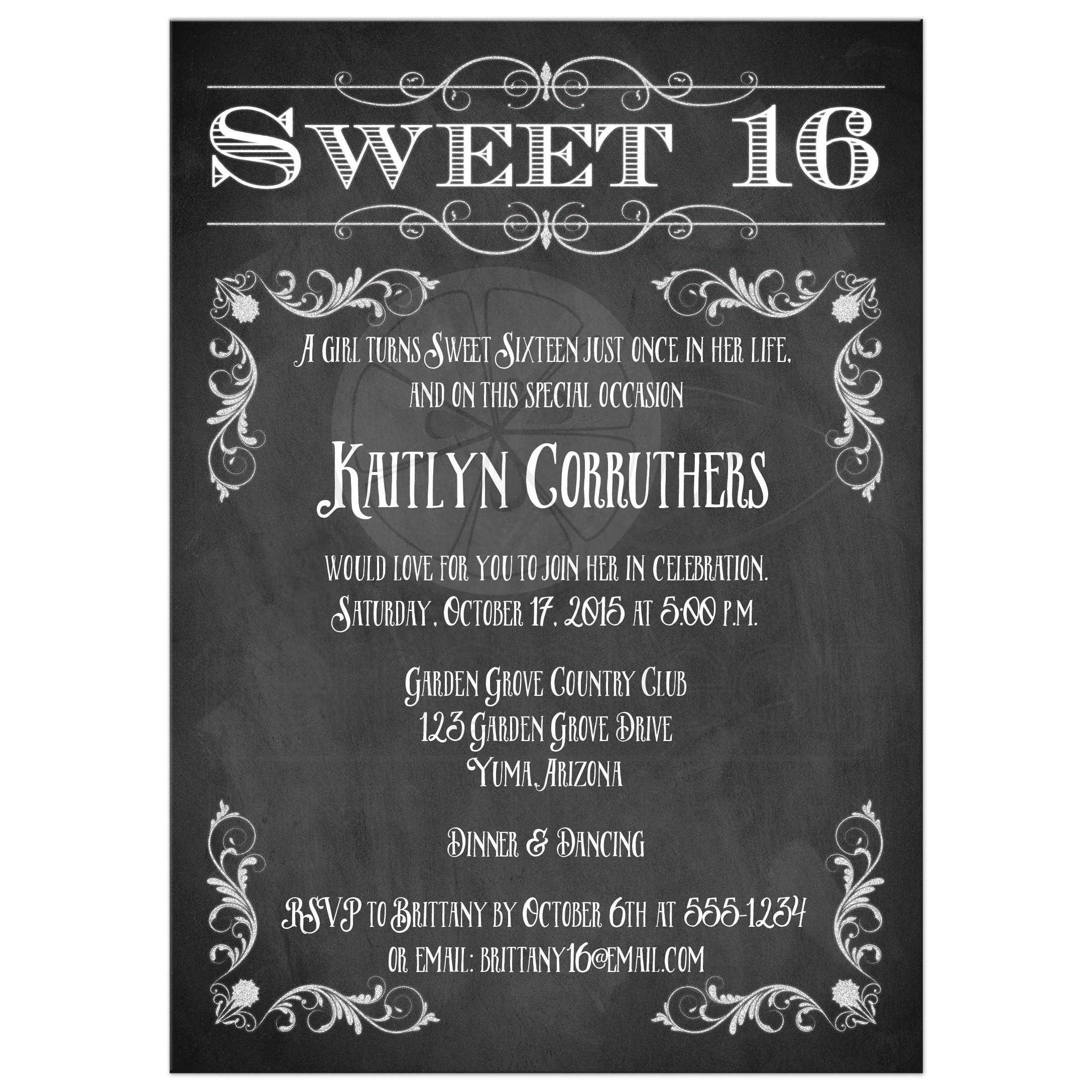 It is an image of Massif Sweet 16 Birthday Invitations Free Printable
