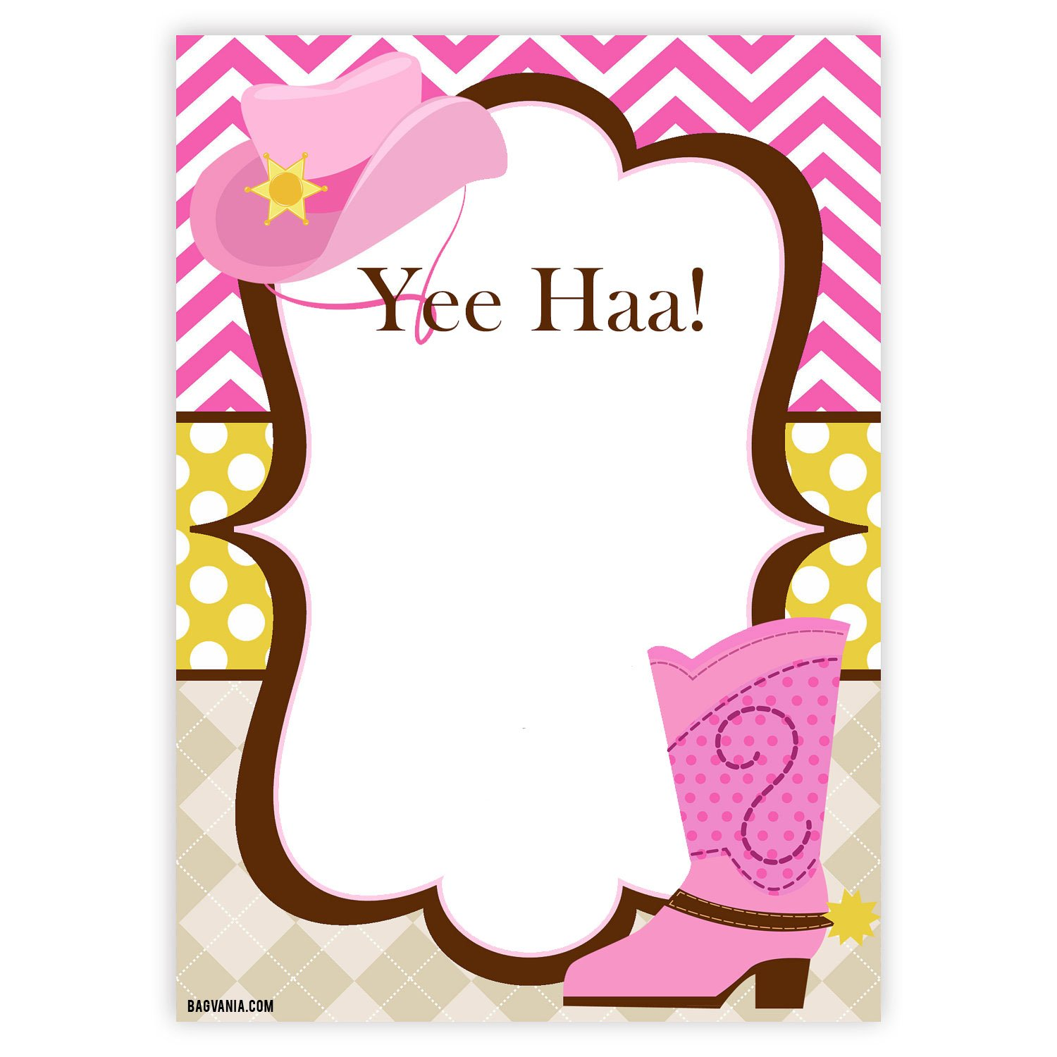 FREE Cowgirl Invitation Chevron