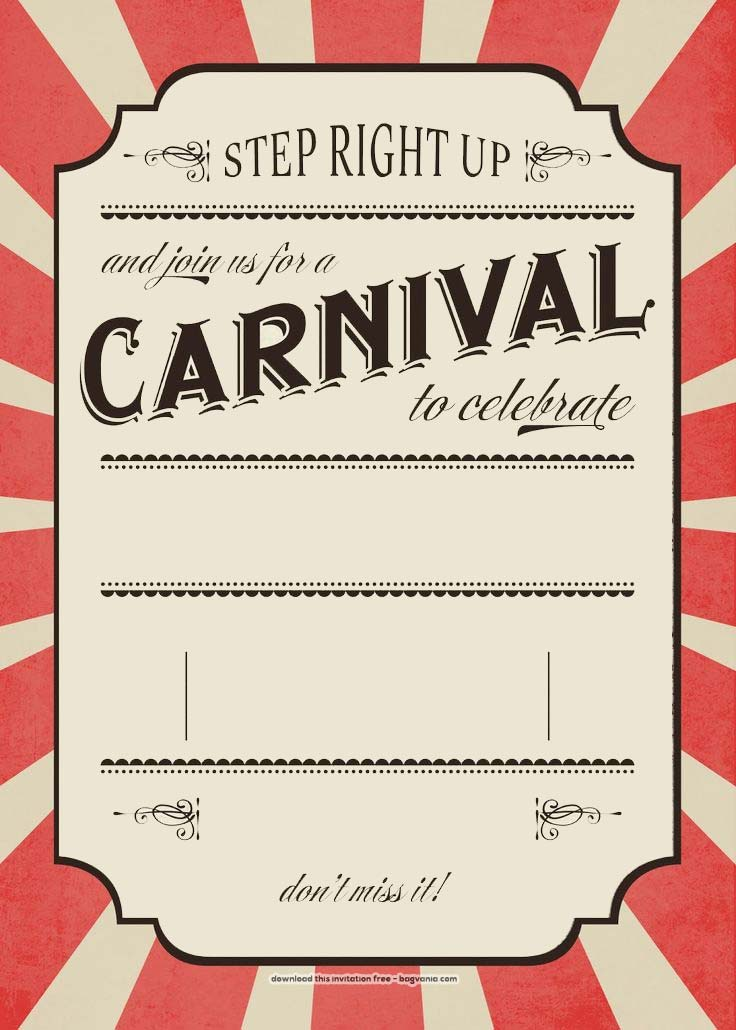 FREE Carnival Birthday Invitations Bagvania FREE Printable