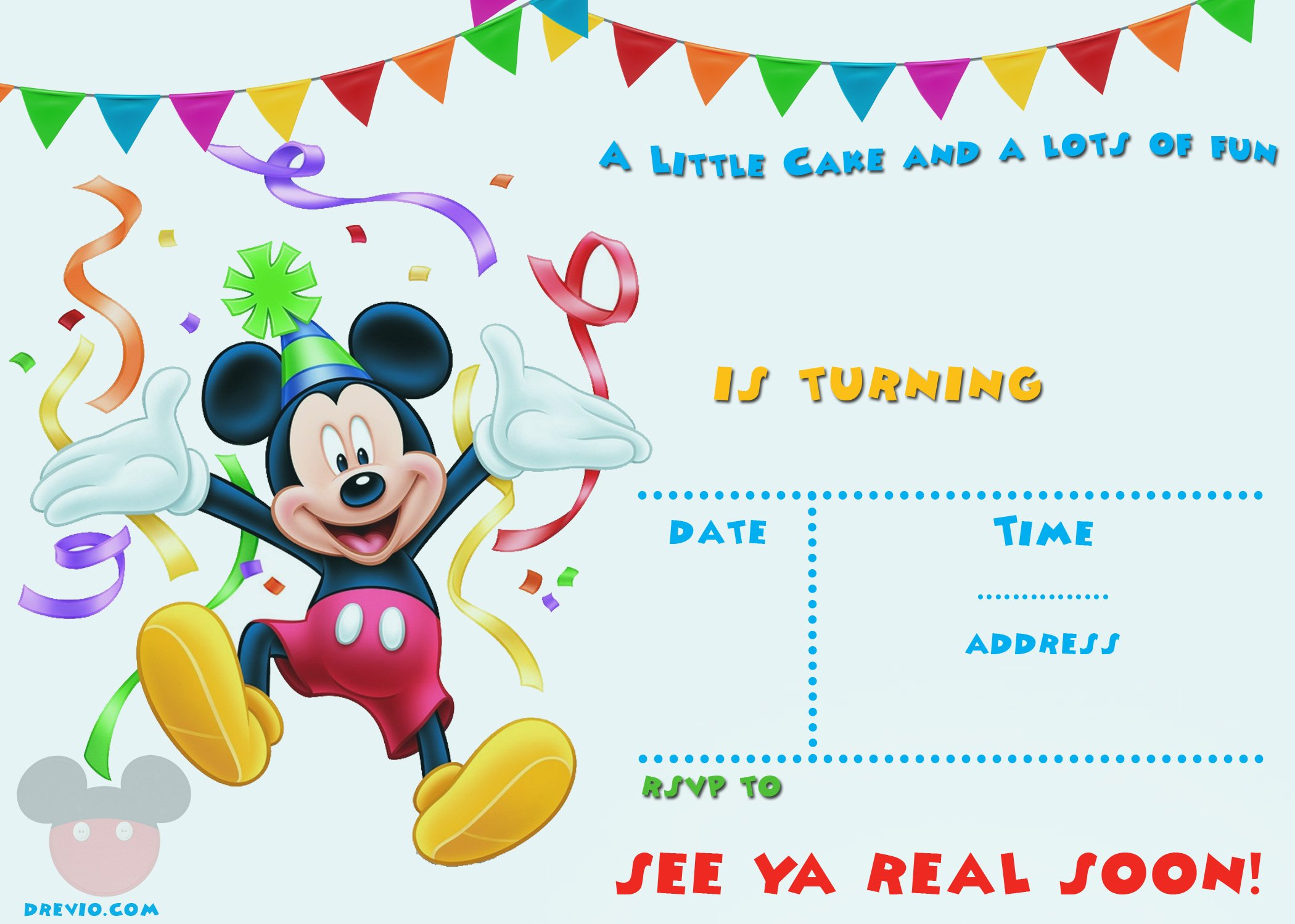 Ambitious image regarding free printable mickey mouse invitations