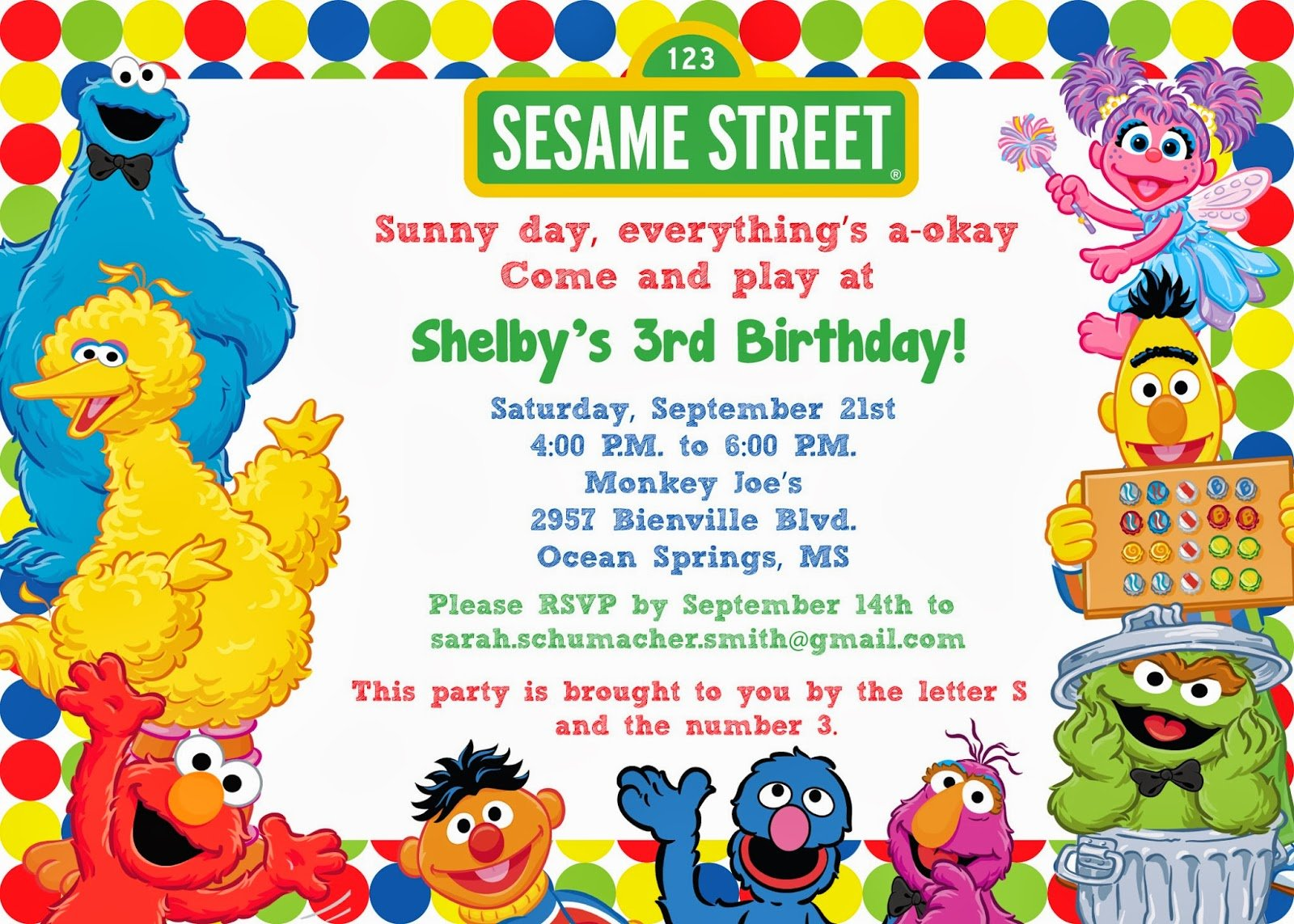 Free Sesame Street Birthday Invitations on oscar invitations free printable
