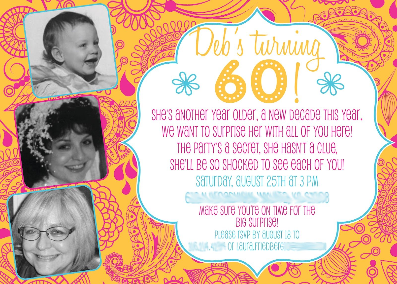 surprise 60th birthday party invitations party  u2013 free
