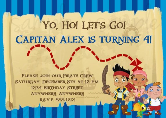 Jake and the neverland pirates birthday invitations bagvania free decorate the room in jake and the neverland theme you can put many balloons and sticker there prepare too for the decorated birthday cake filmwisefo Image collections