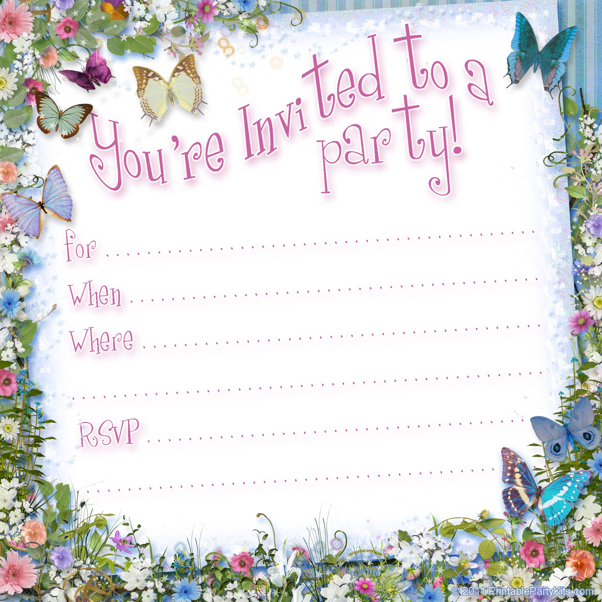 Butterfly Birthday Invitations Template – FREE Printable ...