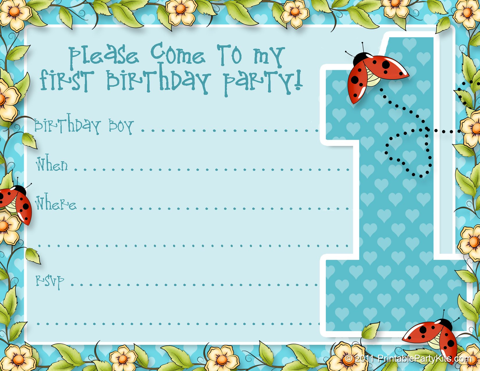 Printable Birthday Party Invitations – Bagvania FREE Printable ...