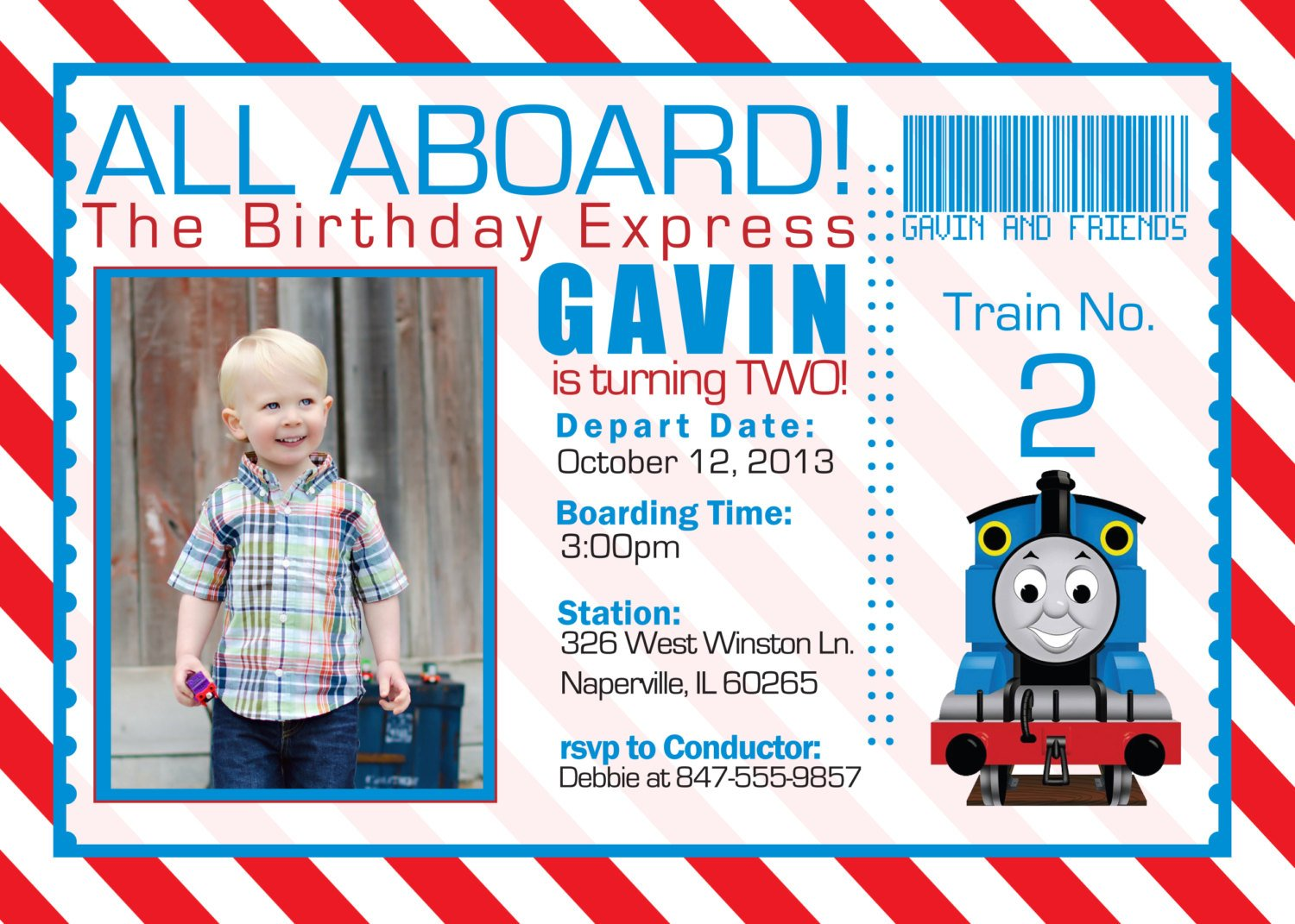 Thomas And The Train Birthday Invitations