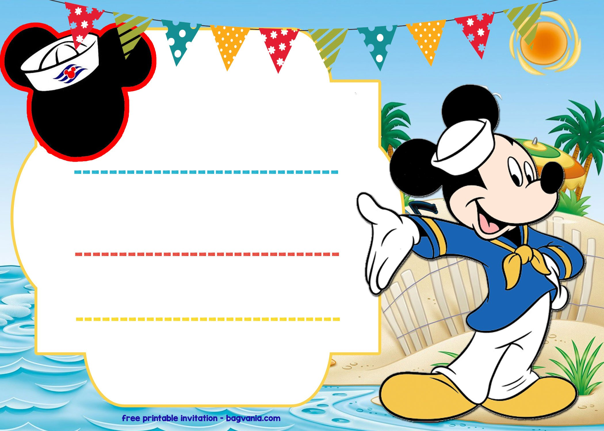 free mickey mouse sailor invitation template  u2013 bagvania