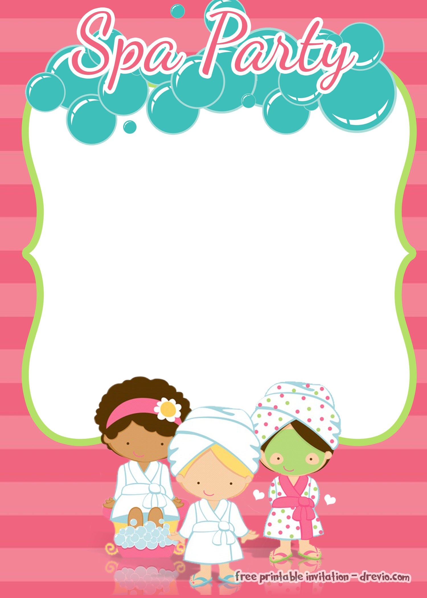 Spa Party Birthday Invitation Template – FREE Printable ...