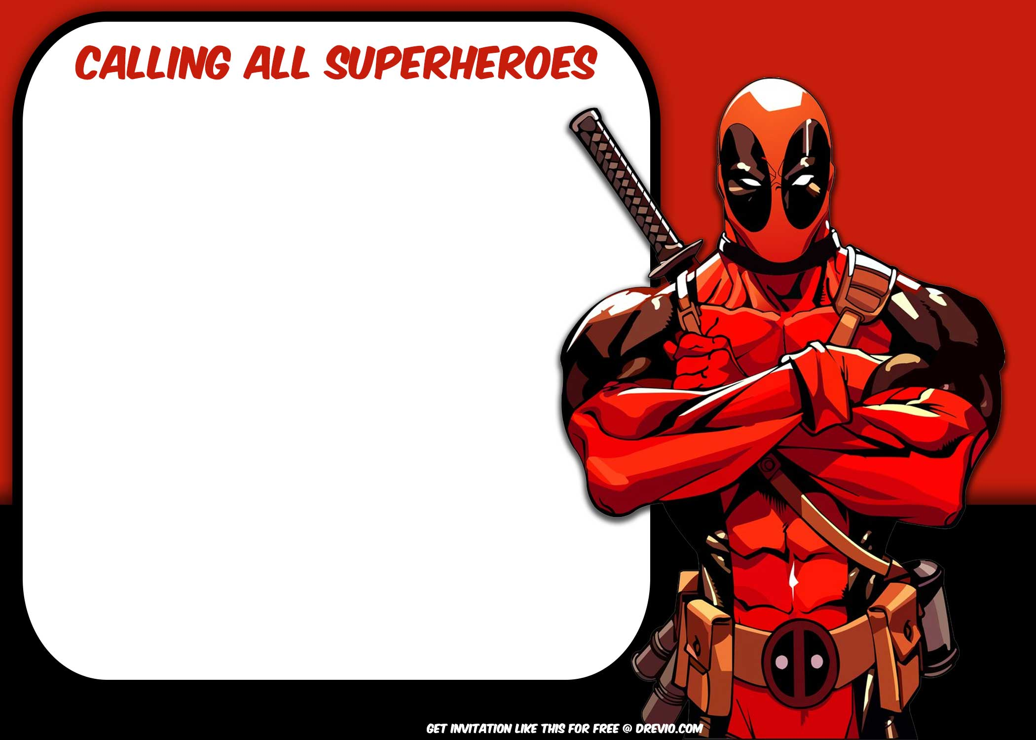 FREE Superhero : Deadpool Invitation Template – Bagvania FREE ...