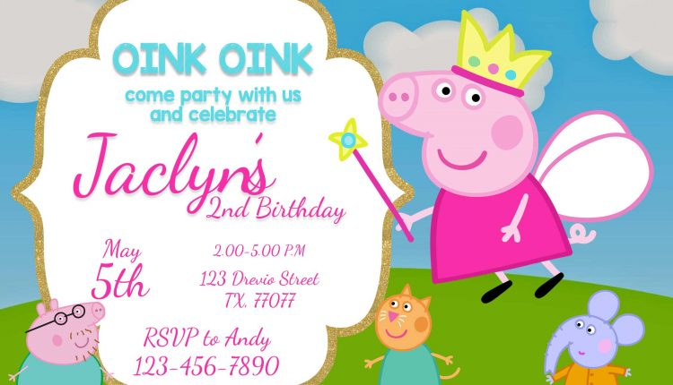 FREE Printable Peppa Pig INvitation Template Preview