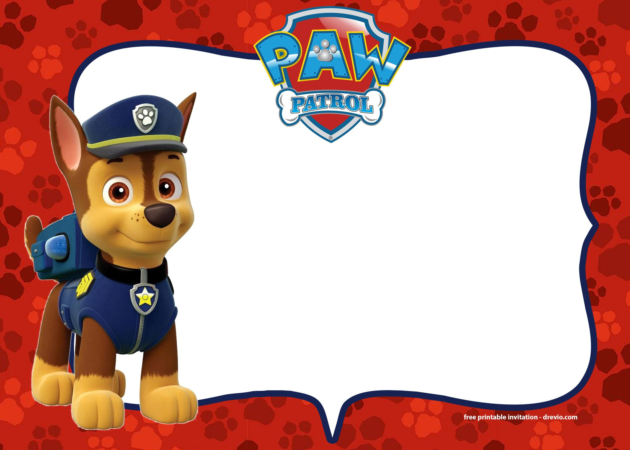 Browse Our Free Printable Chase Paw Patrol Birthday Invitation Template Below
