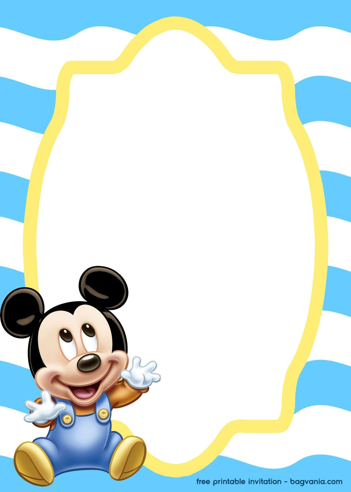 free mickey mouse baby invitation template  u2013 bagvania