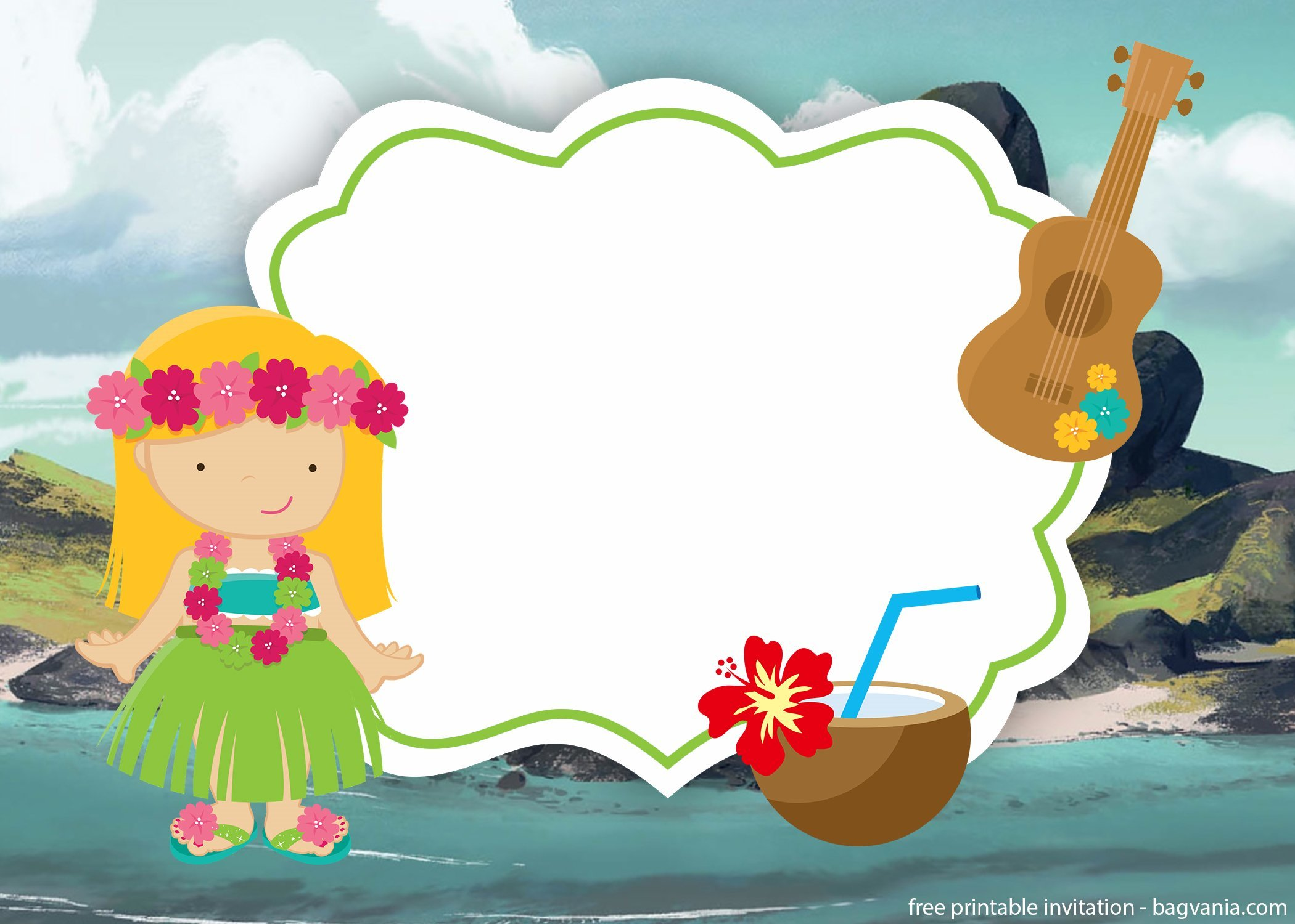 free printable luau hawaiian invitation template  u2013 free