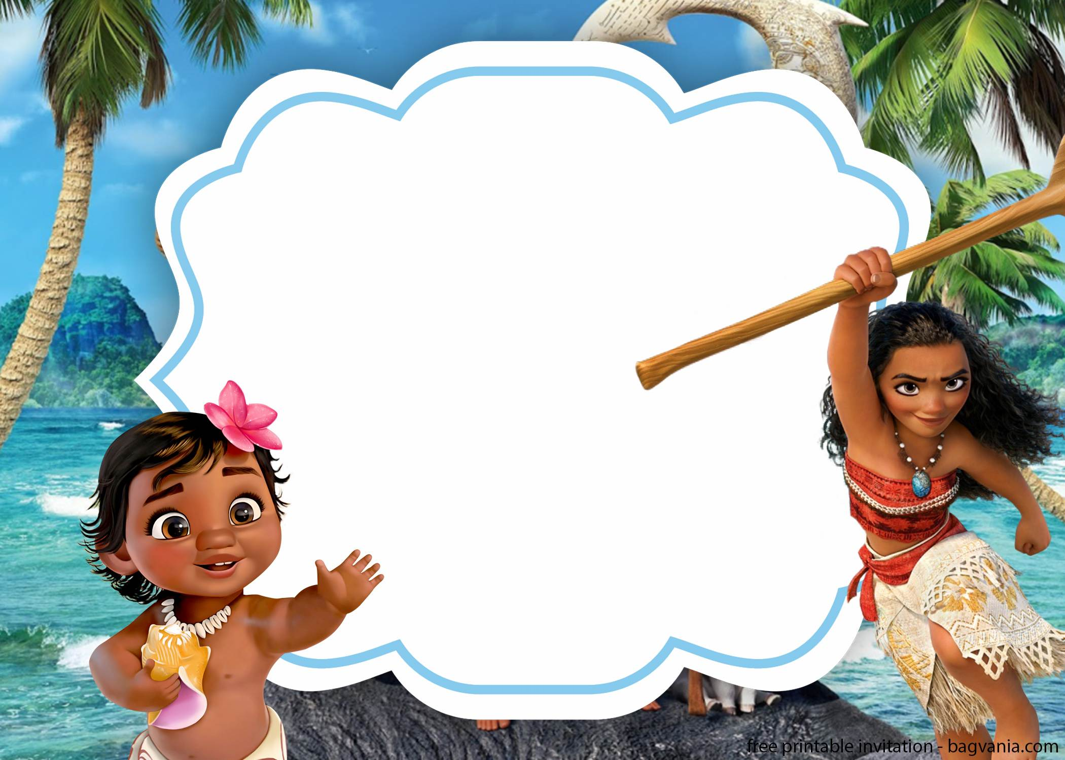 free printable moana with photos birthday invitations
