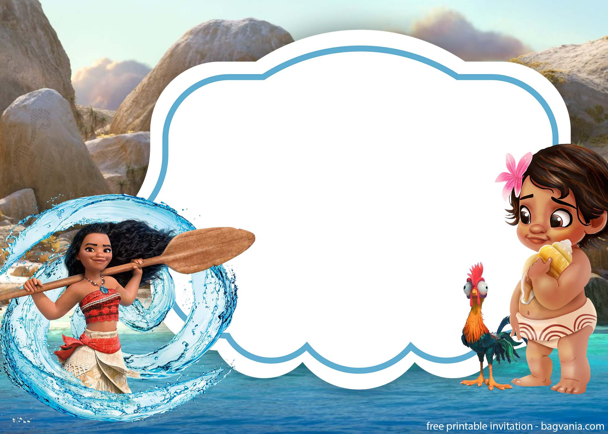You May Customize It With A Baby Moana Font In Which Download From The Internet Try To Write Down Your Party Details