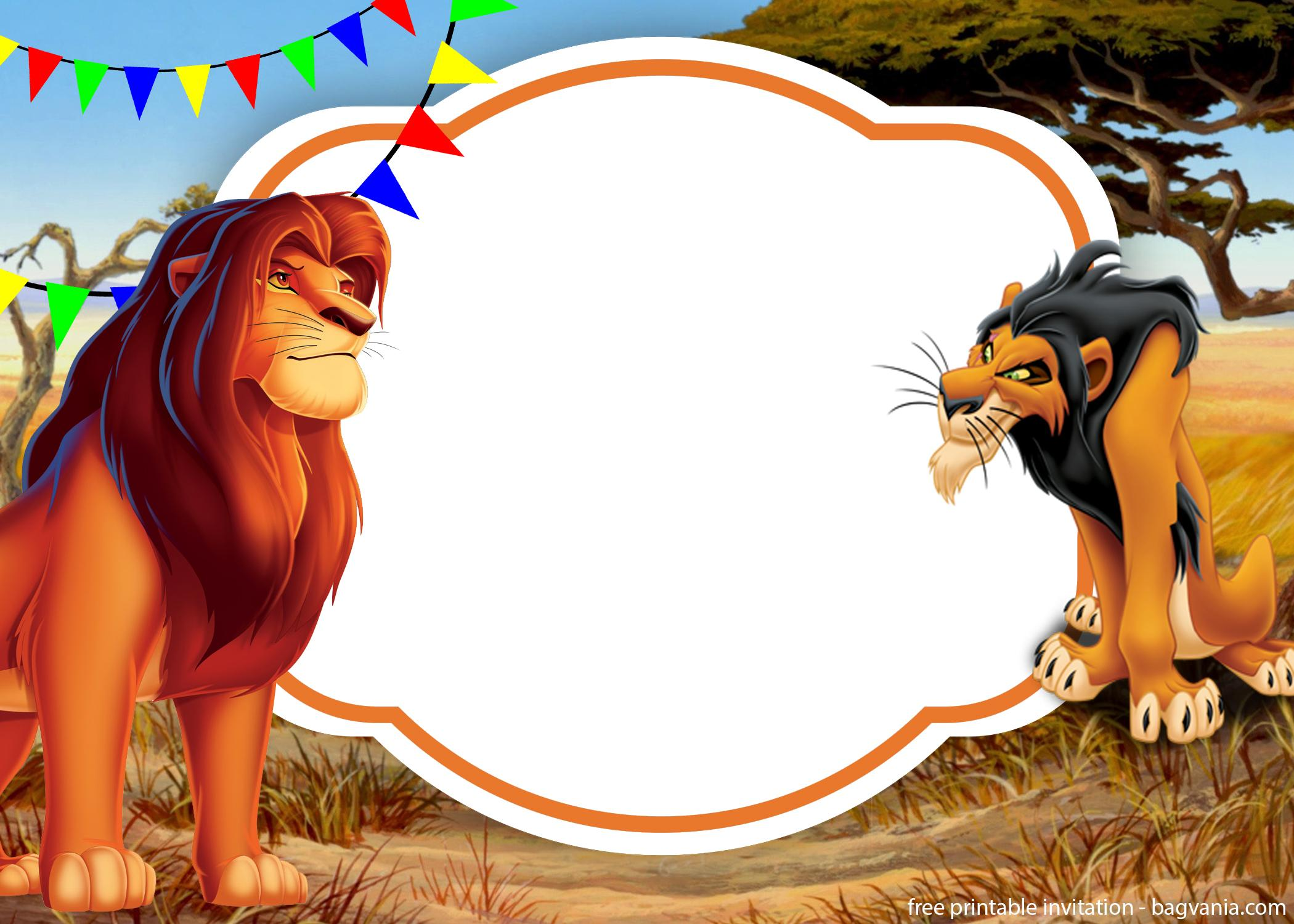 simba lion king invitation template  perfect for parties